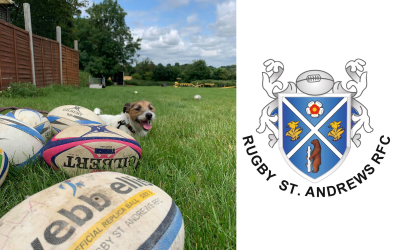 ST ANDREWS RUGBY CLUB supports Pawprints Dog Rescue by donating old and used Rugby Balls